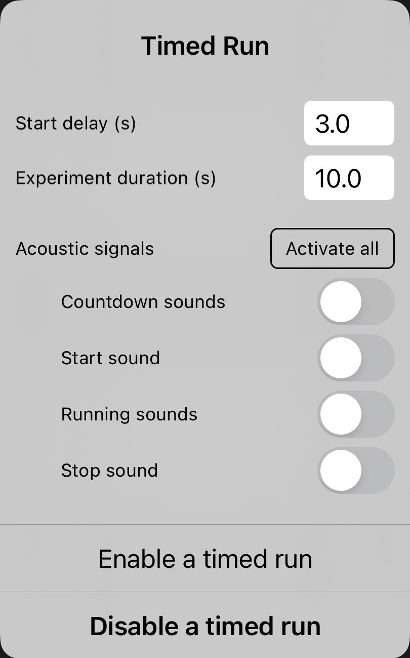 Version 1.1.9: Acoustic Signals in Timed Run